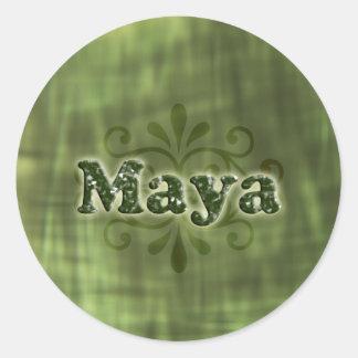 Green Maya Round Sticker