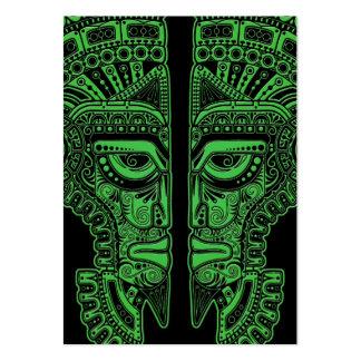 Green Mayan Twins Mask Illusion on Black Business Card