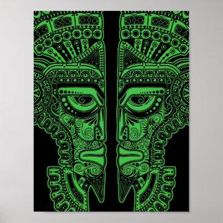 Green Mayan Twins Mask Illusion on Black Print