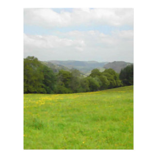 Green meadow. Countryside scenery. 21.5 Cm X 28 Cm Flyer