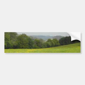 Green meadow. Countryside scenery. Bumper Sticker