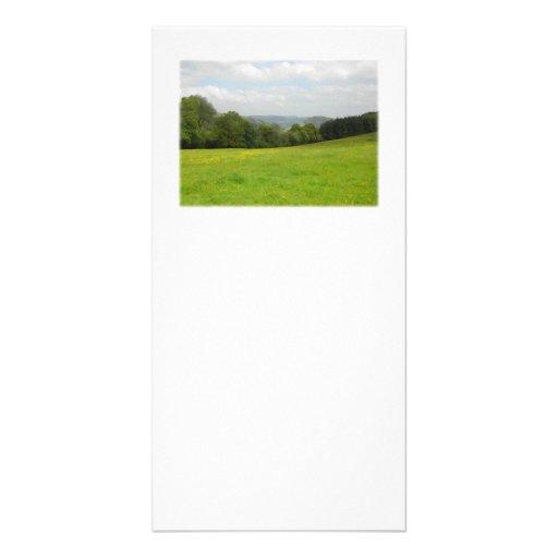 Green meadow. Countryside scenery. Custom Photo Card Template
