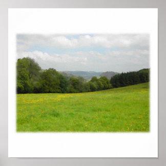 Green meadow. Countryside scenery. Custom Print