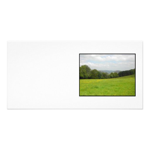 Green meadow. Countryside scenery. Photo Card Template
