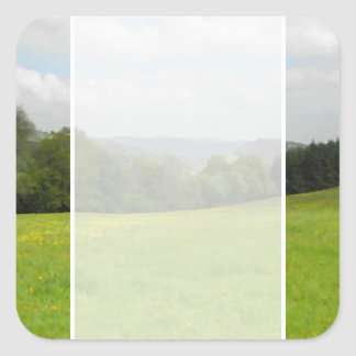 Green meadow. Countryside scenery. Square Sticker