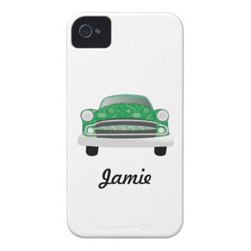 Green Mean Retro Car Boy's Birthday Case-Mate iPhone 4 Cases