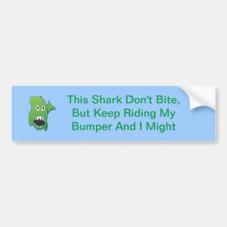 Green Mean Shark Car Bumper Sticker