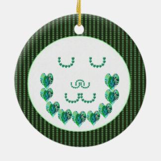 GREEN Meditation Lady : HEART shaped art Ornament