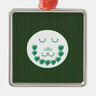 GREEN Meditation Lady : HEART shaped art Ornaments