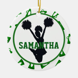Green Megaphones and Cheerleader Personalized Christmas Ornament