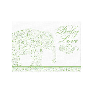 Green Mehndi  Baby  Elephant Canvas Print