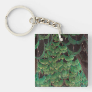 Green Melanistic Pheasant Feathers Key Ring