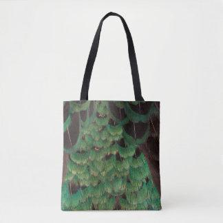 Green Melanistic Pheasant Feathers Tote Bag