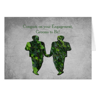 Green Men Ivy & Silver Gay Handfasting Blessings Greeting Card