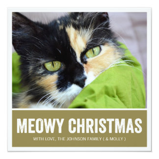 Green Meowy Christmas - Pet Photo Holiday Cards Personalized Invitations