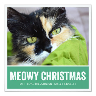 Green  Meowy Christmas - Pet Photo Holiday Cards Custom Invitations