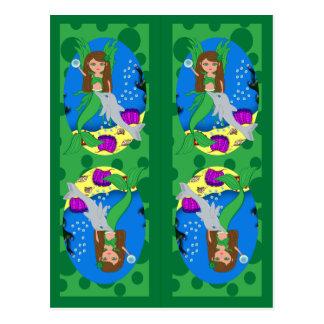 Green Mermaid and Merfaery Bookmarks Postcard