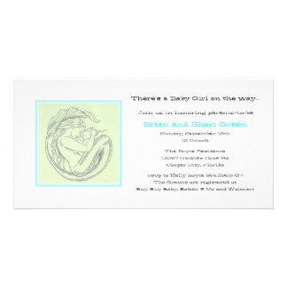 Green Mermaid BB Shower Invite Custom Photo Card