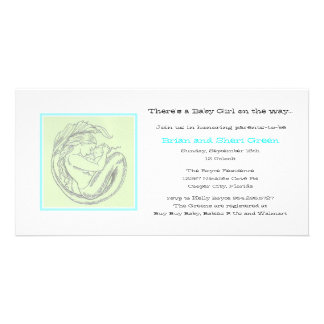Green Mermaid BB Shower Invite Photo Greeting Card