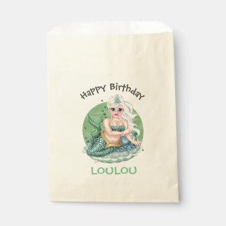 GREEN MERMAID  CARTOON   bag Ecru Favor Favour Bags