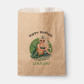 GREEN MERMAID  CARTOON   bag Kraft Favor Favour Bags