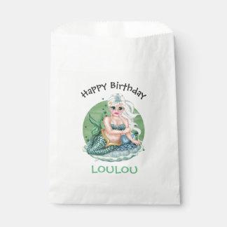 GREEN MERMAID  CARTOON   bag WHITE Favor Favour Bags