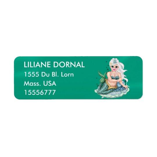 GREEN MERMAID  CARTOON Return Address Labels