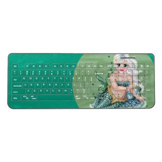 GREEN MERMAID CUTE CARTOON Custom WirelessKeyboard Wireless Keyboard