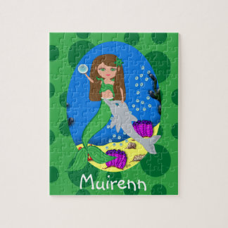 Green Mermaid in the Ocean with a Dolphin Puzzle