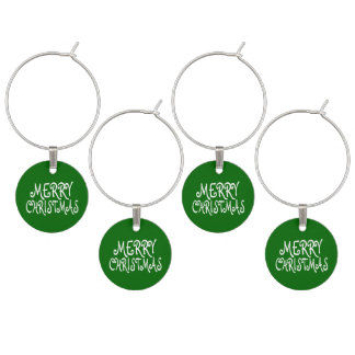 Green Merry Christmas Wine Charms