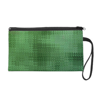 Green Mesh Glass Effect Art Wristlet Bag