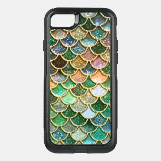 Green Metal Foil Glitter Gold Mermaid Scales OtterBox Commuter iPhone 8/7 Case