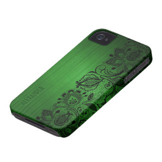 Green Metallic Brushed Aluminum Look & Black Lace iPhone 4 Cover