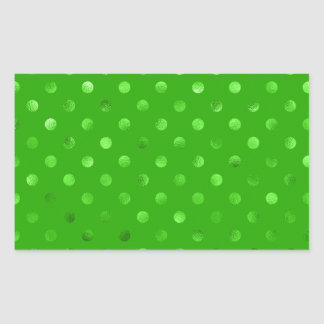 Green Metallic Faux Foil Polka Dot Background Rectangular Sticker