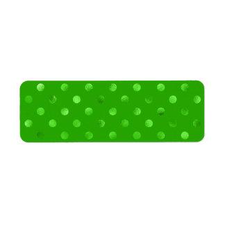 Green Metallic Faux Foil Polka Dot Background Return Address Label