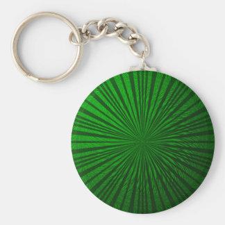 Green Metallic Illusion Basic Round Button Key Ring