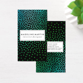 Green Metallic Speckled Pattern Business Card