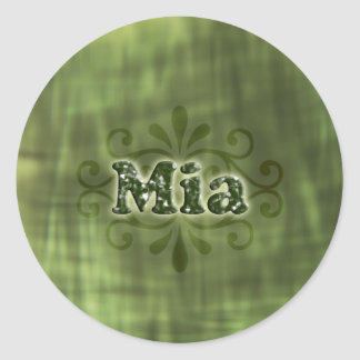Green Mia Round Sticker