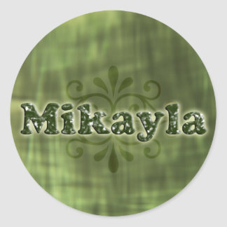Green Mikayla Round Stickers
