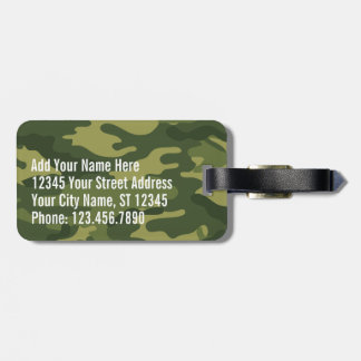 Green Military Camo Pattern with name and address Luggage Tag