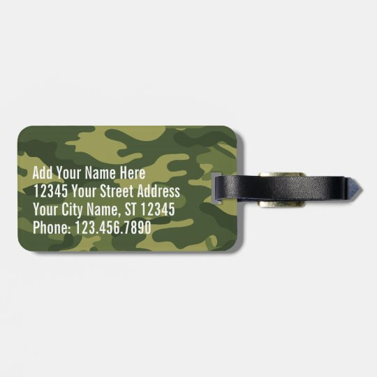 Green Military Camo Pattern with name and address