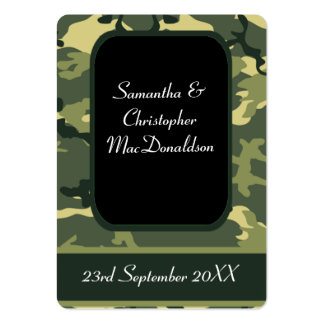 Green military camouflage favor thank you tag large business cards (Pack of 100)