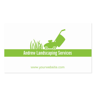 Green Minimalist Landscaping Services Lawn Mower Business Card Templates