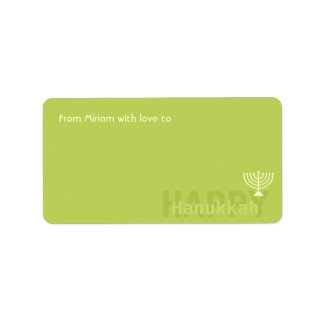 Green Minimalistic Menorah Hanukkah Address Label