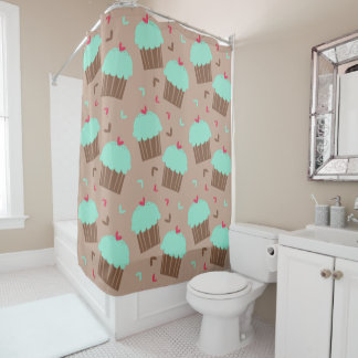Green Mint Cupcake Shower Curtain