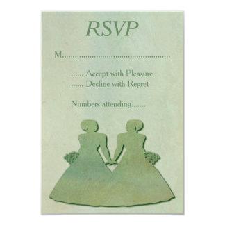 Green Mint Rustic Lesbian Wedding RSVP 9 Cm X 13 Cm Invitation Card