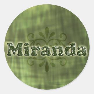 Green Miranda Round Sticker