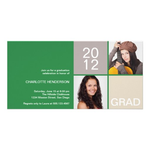 Green modern block class of grad announcement photo card