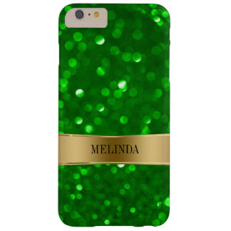 Green Modern Bokeh Glitter Barely There iPhone 6 Plus Case
