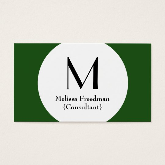 Green Modern Circle Custom Monogram Business Cards